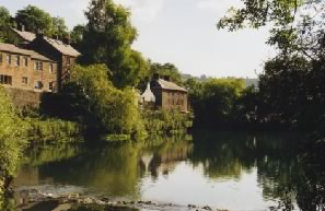Image: Derbyshire village of Cromford, the mill pond at the heart of the settlement.