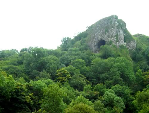 Image: Thor's Cave seen from the Manifold Way cycling track on the border of Staffordshire and Derbyshire.